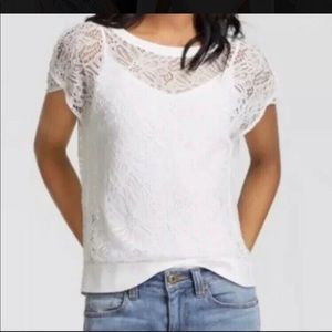 CAbi white lace top LIKE NEW L #5342